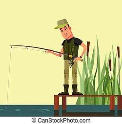 apartamento, personagem, ilustração, fishing., vetorial, homem sorridente, caricatura, feliz