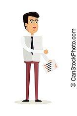 apartamento, personagem, ilustração, vetorial, desenho, homem negócios