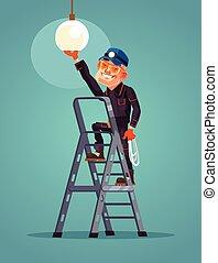apartamento, personagem, trabalhador, ilustração, vetorial, mudanças, luz, sorrindo, bulb., caricatura, feliz