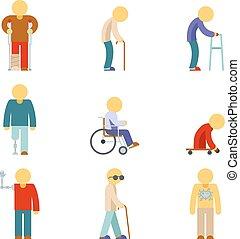 apartamento, pessoas, incapacidade, icons., sinais