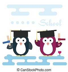 apartamento, pingüins, caráteres, stylized, como, um, students.