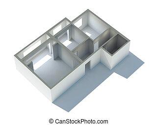 apartamento, plano, 3d