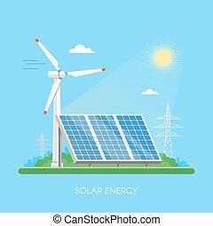 apartamento, planta, industrial, poder, electricidade, energia, ilustração, concept., experiência., vetorial, verde, solar, factory., estação, painéis, style.