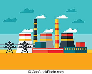 apartamento, planta, industrial, poder, ilustração, style.