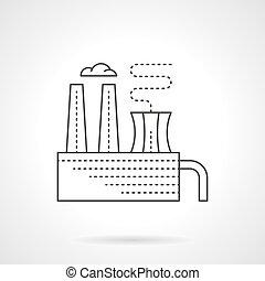 apartamento, planta, químico, vetorial, linha, desperdício, ícone