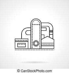 apartamento, planta, refinaria, vetorial, linha, ícone