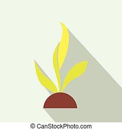 apartamento, planta, seedling, ícone