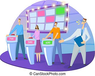 apartamento, plataformas, coloridos, mostrar, lights., isolado, problema, anfitrião, vetorial, tv-studio, fundo, tela branca, contestants., illustration.