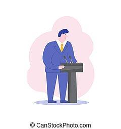 apartamento, político, candidato, negócio, ceo, character., ilustração, caricatura, vetorial, orador, presidente, macho, debate