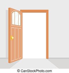 apartamento, porta, casa, isolado, ilustração, vetorial, desenho, fundo, abertos
