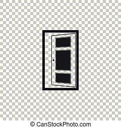 apartamento, porta, isolado, ilustração, experiência., vetorial, ícone, abertos, transparente, design.