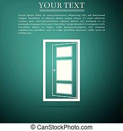 apartamento, porta, isolado, ilustração, experiência., vetorial, verde, ícone, abertos, design.