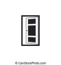 apartamento, porta, isolated., ilustração, vetorial, design., abertos, ícone