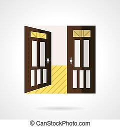 apartamento, porta, marrom, vetorial, abertos, ícone