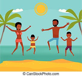 apartamento, praia., illustration., família, tour., africano, junto, americano, vetorial, mar, family., feliz, caricatura, pular
