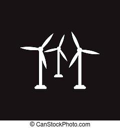 apartamento, pretas, branca, turbina, vento, ícone