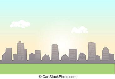 apartamento, primeiro plano., prado, coloridos, skyline, vetorial, verde, horizontal., cityscape, linha, illustration.