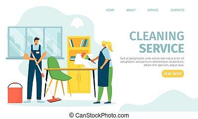 apartamento, profissional, limpeza, trabalho, personagem, pessoas, mulher, escritório, vetorial, homem, trabalho, limpador, illustration., equipamento, serviço
