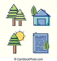 apartamento, projeto fixo, linear, ícones