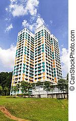 apartamento, propiedad, singapur, residencial, bloque envoltura