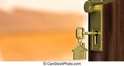 apartamento, puerta, ilustración, fondo., puerta, naranja,...