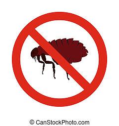 apartamento, pulgas, estilo, proibição, sinal, ícone