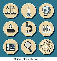 apartamento, química, ícones