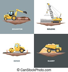 apartamento, quadrado, ícones, maquinaria construção, 4