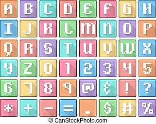 apartamento, quadrado, arcada, ícones, alfabeto, símbolos, números
