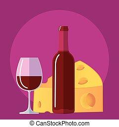 apartamento, queijo, garrafa copo, vinho, ícone, vinho