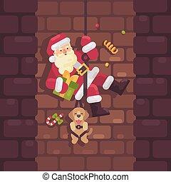 apartamento, rappelling, mão., claus, cão, ilustração, baixo, chaminé, santa, presente natal