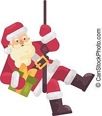 apartamento, rappelling, mão., claus, personagem, chimney., ilustração, baixo, santa, escalando, presente natal