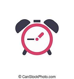 apartamento, relógio, alarme, -, isolado, ilustração, sinal, experiência., vetorial, tempo, branca, ícone