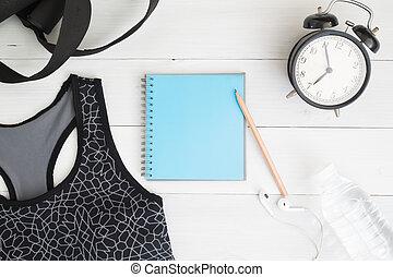 apartamento, relógio, madeira, vindima, alarme, condicão física, caderno, água, fundo, configuração, equipments, em branco, branca, desporto