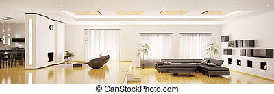 apartamento, render, panorama, moderno, interior, 3d