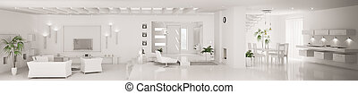 apartamento, render, panorama, moderno, interior, blanco, 3d
