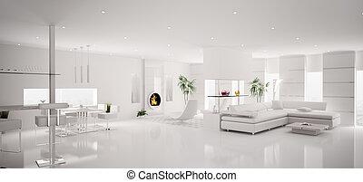 apartamento, render, panorama, modernos, interior, branca, 3d