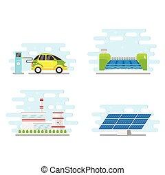 apartamento, renovável, jogo, energia, vetorial, alternativa, ícone