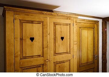 apartamento, renovado, clásico, de madera, guardarropa,...