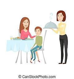 apartamento, restaurant., garçom, ilustração, caricatura, experiência., quentes, vetorial, prato, branca, style.