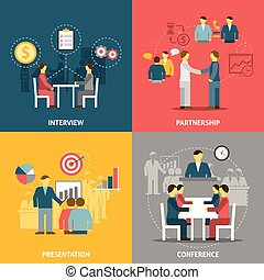 apartamento, reunião, composição, ícones negócio