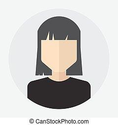 apartamento, rosto, avatar, femininas, ícone, redondo, ...