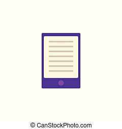 apartamento, roxo, tabuleta, ou, palmtop, com, texto, em, tela