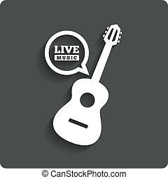 apartamento, símbolo., guitarra, música viva, acústico,...