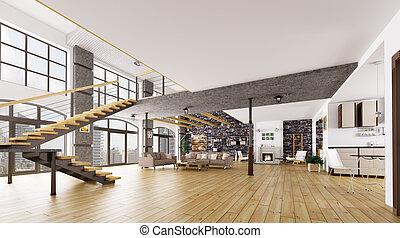 apartamento sótão, interior, 3d, fazendo