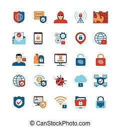 apartamento, segurança, internet, desenho, ícones