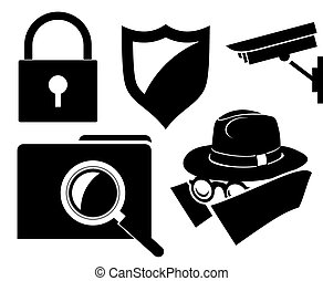 apartamento, segurança, Proteção,  -, ícones