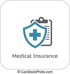 apartamento, seguro médico, icon., design.