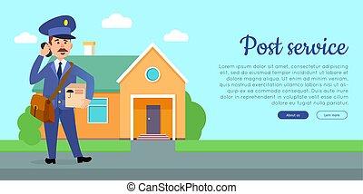 apartamento, serviço, teia, vetorial, poste, bandeira, caricatura