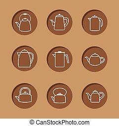 apartamento, set., chaleiras, desenho, ícone